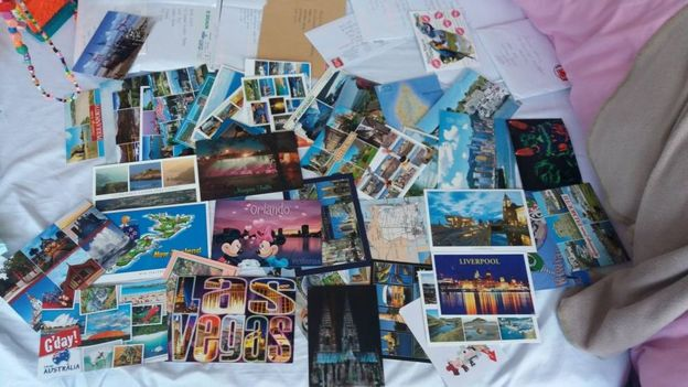 Postcards sent to Jessie Stocks and her family after a social media appeal