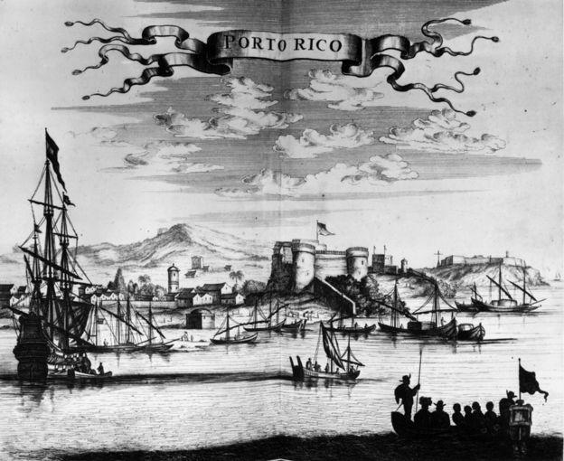 1671, Porto Rico (Puerto Rico) y su castillo visto desde el puerto. Trabajo origina: Ogilvy's America