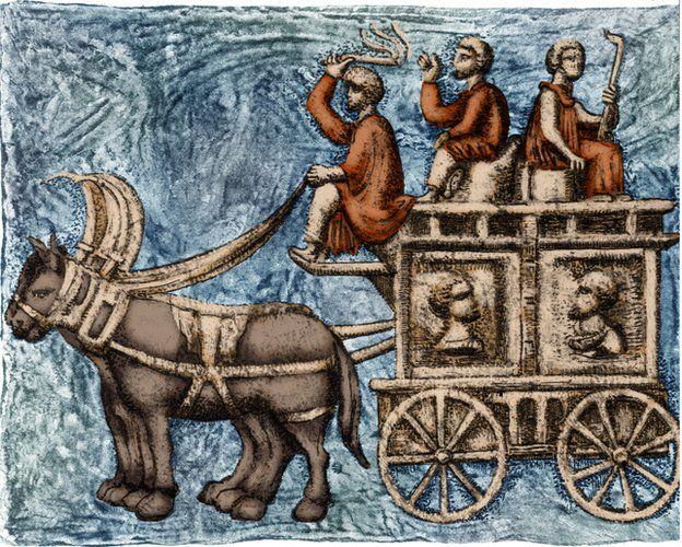 Carro funerario romano de cuatro ruedas o vagón ambulante. A lo largo de su imperio, los romanos usaron varios vehículos para viajar. El carrus (carro) era un carro abierto que transportaba un conductor y un pasajero y era halado por caballos.