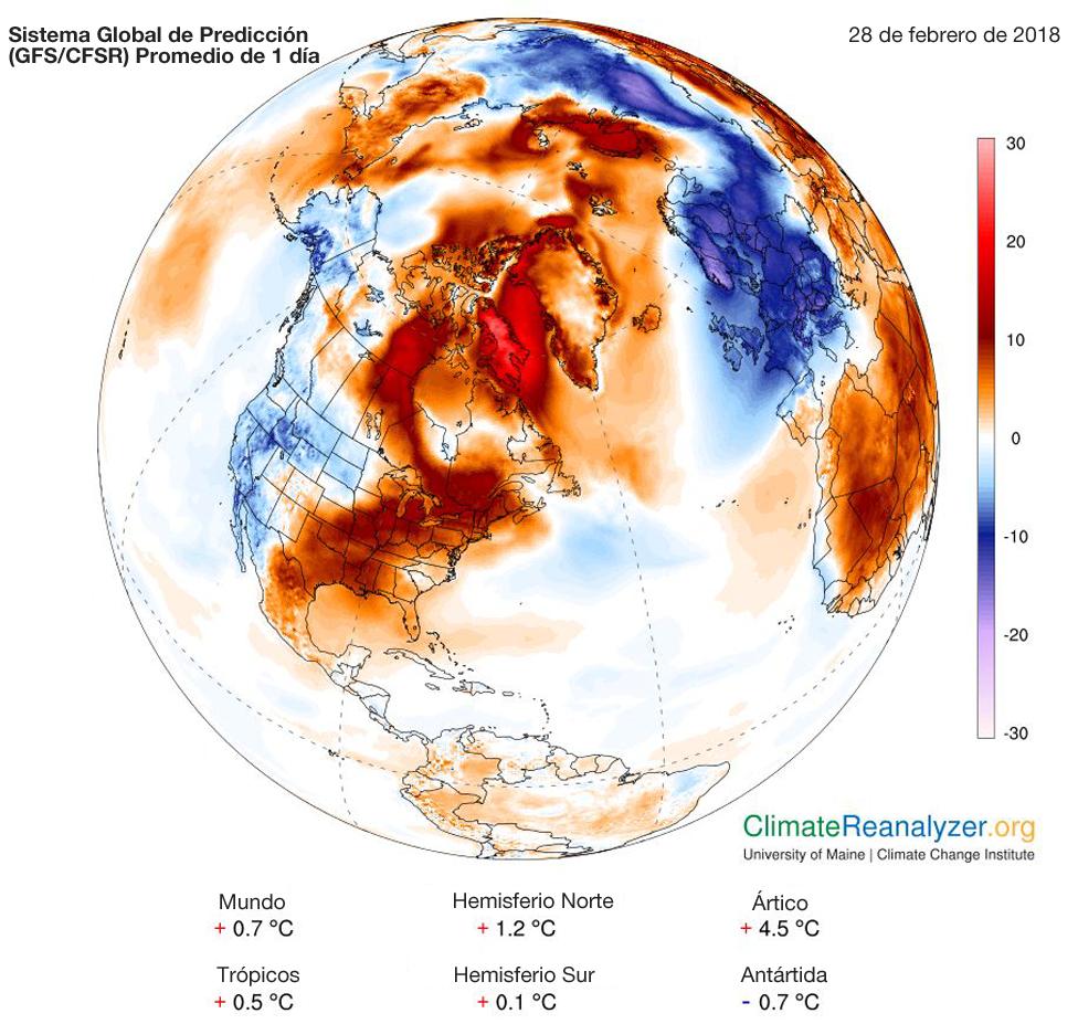 Mapa sobre temperatura heladas en el Hemisferio Norte. (Foto: Instituto de Cambio Climático/Universidad de Maine)