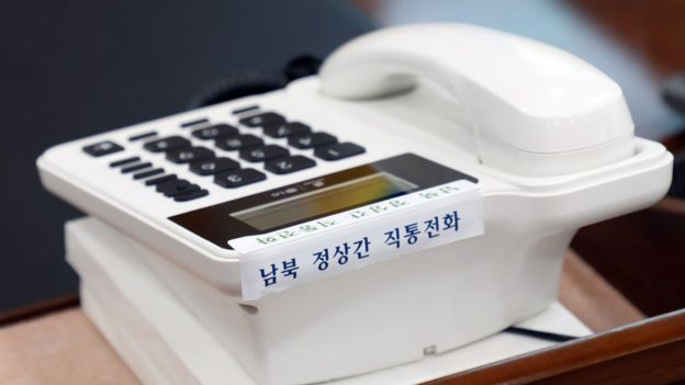 A telephone hotline to North Korea is displayed at the presidential Blue House in Seoul on April 20, 2018.