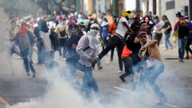 Manifestantes en Venezuela.
