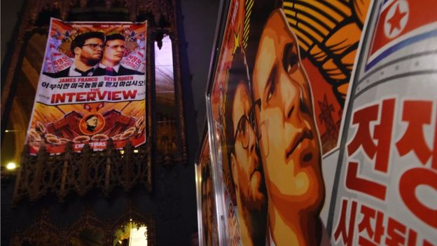 Movie posters for the premiere of the film 'The Interview' at The Theatre at Ace Hotel in Los Angeles, California on December 11, 2014. The film, starring US actors Seth Rogen and James Franco, is a comedy about a CIA plot to assassinate its leader Kim Jong-Un, played by Randall Park