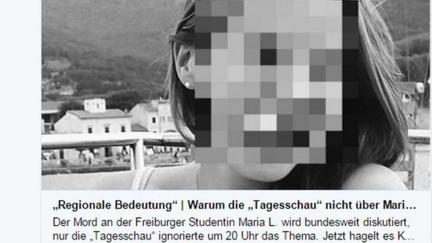 Tweet from German newspaper Bild showing picture of Maria with her face pixellated
