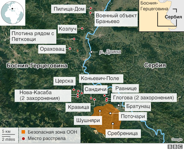 Сребреница, карта