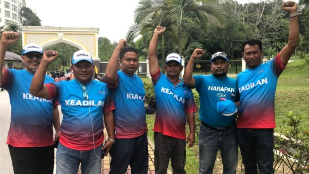 Supporters of Mr Anwar