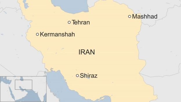 Iran map showing Kermanshah in the west, Mashhad in the north-east and Shiraz in the south
