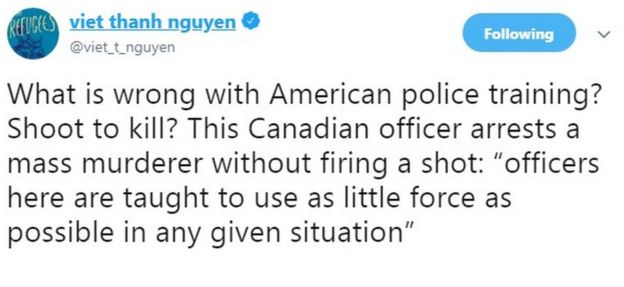 """What is wrong with American police training? Shoot to kill? This Canadian officer arrests a mass murderer without firing a shot: ""officers here are taught to use as little force as possible in any given situation"""""