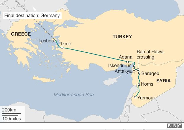 Syria refugee crisis yarmouk pianists perilous journey to greece map of ayhams journey gumiabroncs Choice Image