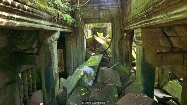 Các cửa sổ lớn có cột bị cỏ cây ở phía trong của điện thờ chính xâm lấn