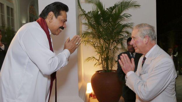Prince Charles and President Mahinda Rajapaksa of Sri Lanka