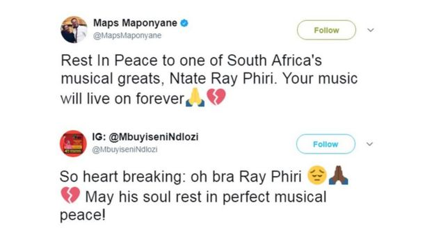 Two tweets sent by fans mourning the death of Ray Phiri