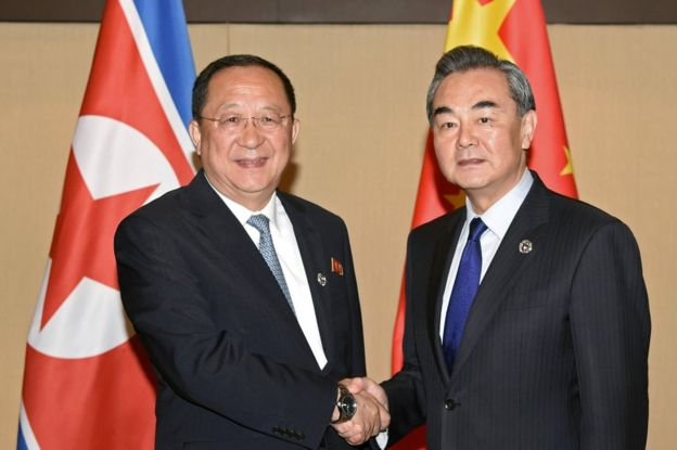 People's Republic of China Foreign Minister Wang Yi greets North Korean Foreign Minister Ri Yong Ho, during a bilateral meeting at Manila, Philippines 6 August 2017.