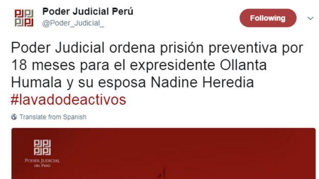 Captura de pantalla del Twitter del Poder Judicial de Perú