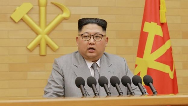 "FILE PHOTO: North Korea""s leader Kim Jong Un speaks during a New Year's Day speech in this photo released by North Korea""s Korean Central News Agency (KCNA) in Pyongyang on January 1, 2018."