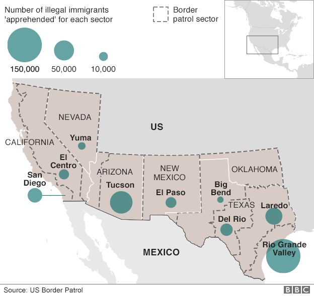 Trump Orders Wall To Be Built On Mexico Border BBC News - Map of us and mexico