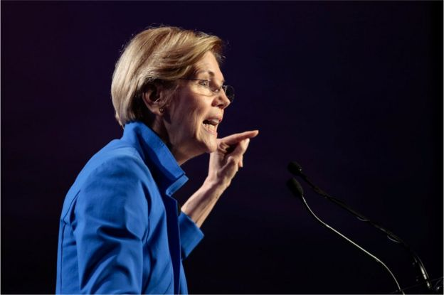 Senator Elizabeth Warren at a meeting in Atlanta, Georgia, 12 August