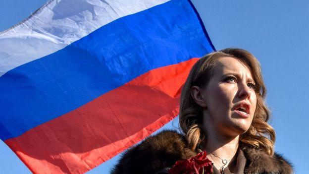 Ksenia Sobchak, candidata a la presidencia rusa y crítica con el régimen de Putin.