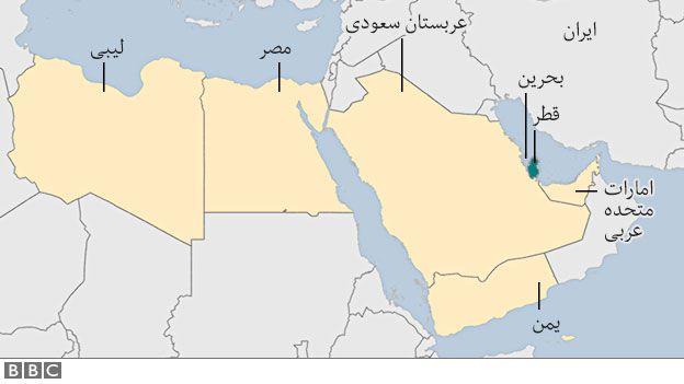 نقشه تعدادی از کشورهایی که با قطر قطع رابطه کردهاند