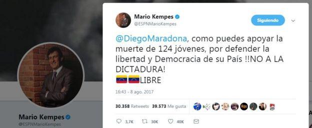 Captura de pantalla de la cuenta de Kempes en Twitter
