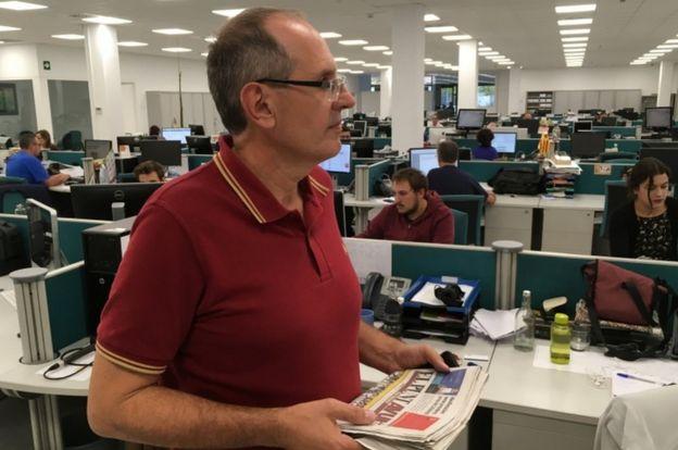 Miquel Riera trabajó con Carles Puigdemont en el periódico pro-independencia ahora conocido como El Punt Avui.