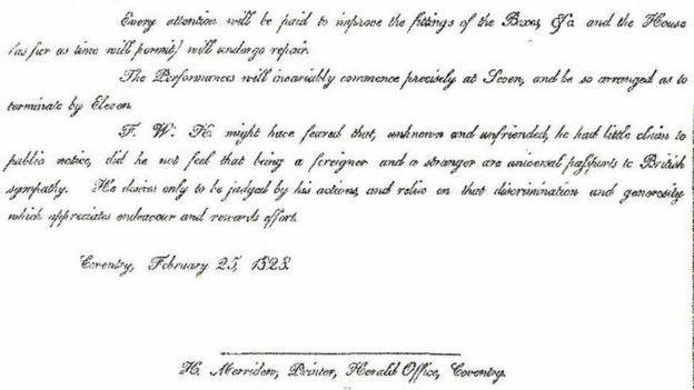 An excerpt from a letter written by Ira Aldridge