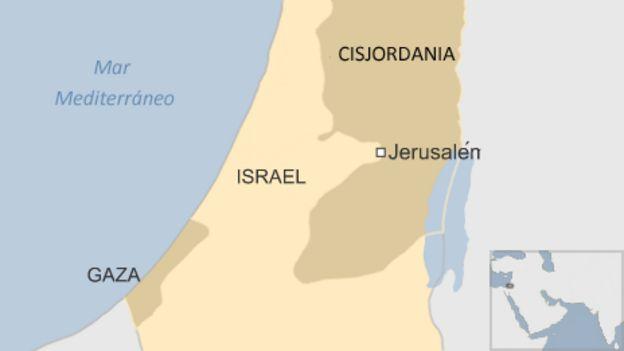 Mapa Israel y territorios palestinos