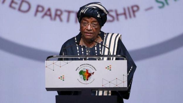 Liberian President Ellen Johnson-Sirleaf at a plenary session at the India-Africa Forum Summit in Delhi (29 October 2015)