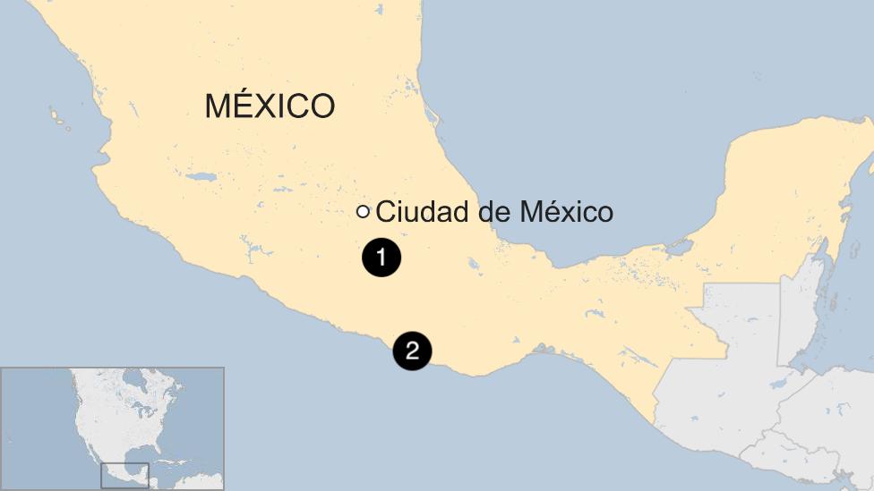 Mapa terremoto en México.