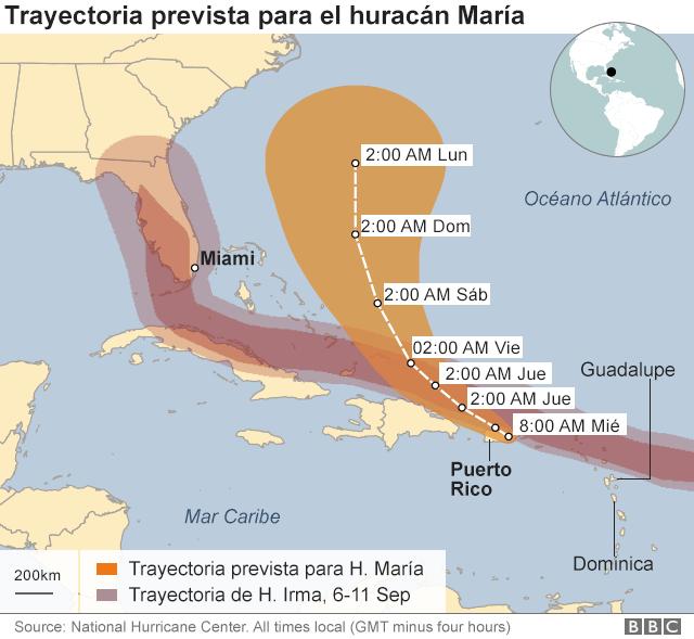 TRAYECTORIA PREVISTA HURACAN MARIA