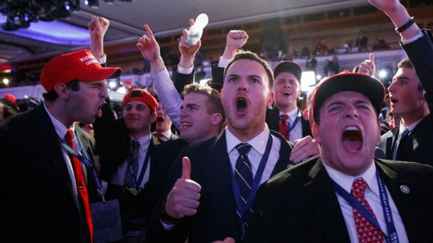 States Supporters Of President Elect Donald Trump Cheer During As They Watch Election Returns During An