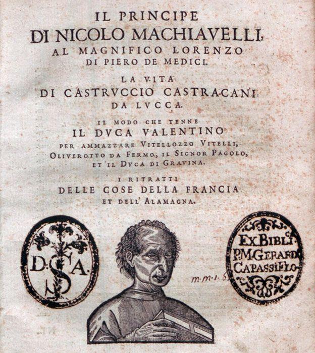 """Primera página de la edición de 1550 de """"El príncipe""""."""