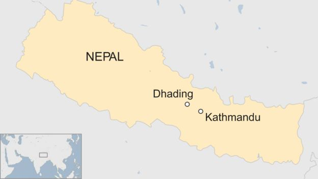 A BBC map of Nepal showing Kathmandu and Dhading