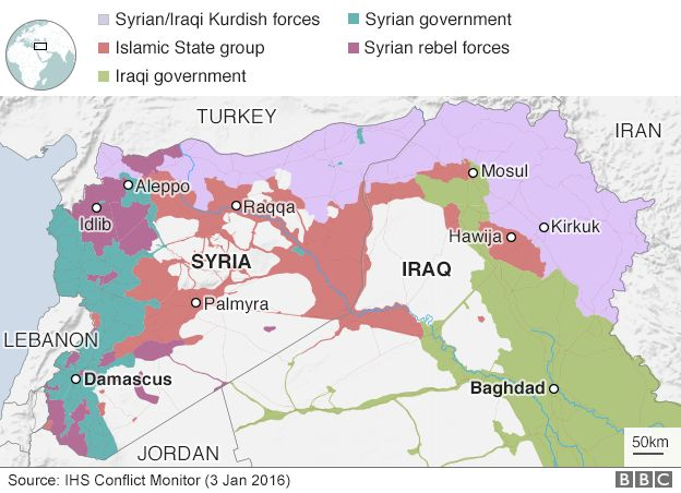 Syria war rebels unite after attack by idlib jihadists bbc news map showing control of syria and iraq 3 january 2017 gumiabroncs Images