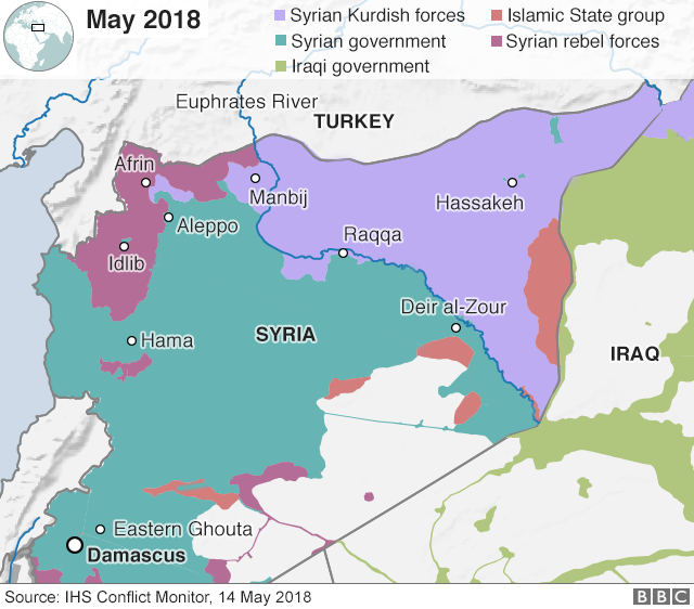 Map showing control of Syria on 14 May 2018