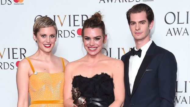 Denise Gough (left) with best actress winner Billie Piper and Andrew Garfield