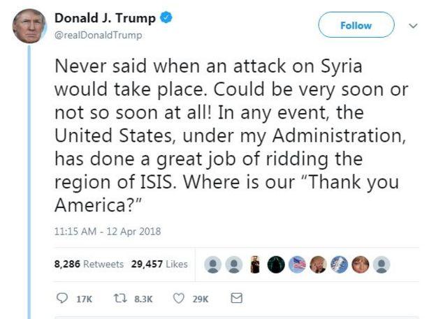 Trump mesajı