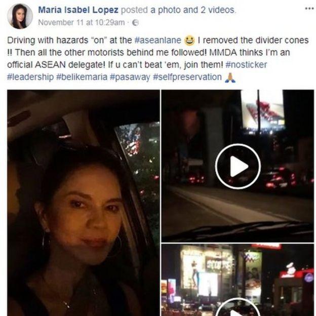 Maria Isabel Lopez's Facebook posting