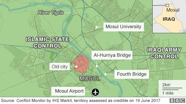 Irak'taki Musul'un kontrolünü gösteren harita (19 Haziran 2017)
