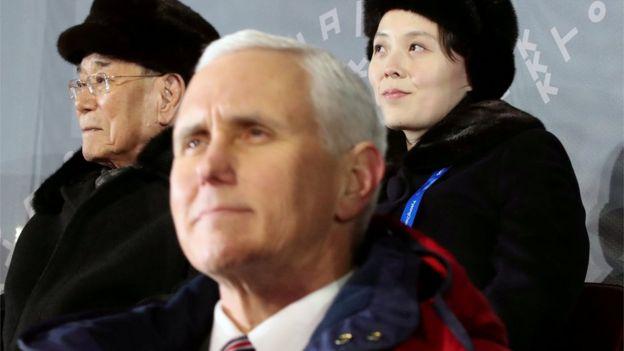 Pence coincidió en la ceremonia inaugural con la hermana de Kim Yong-un.