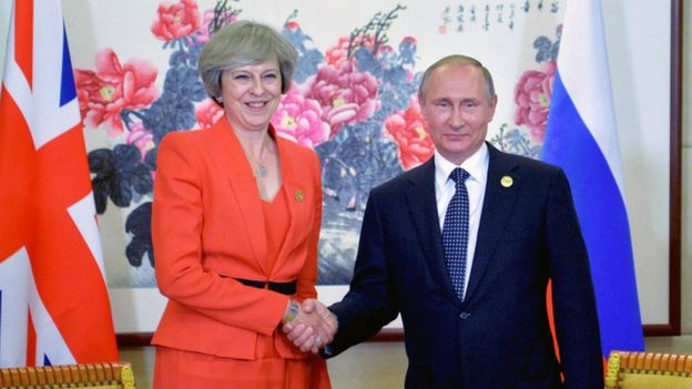 Theresa May and Vladimir Putin in 2016