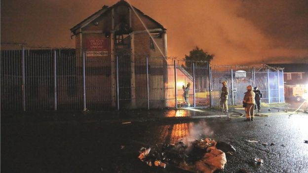 Fire at former credit union building in west Belfast