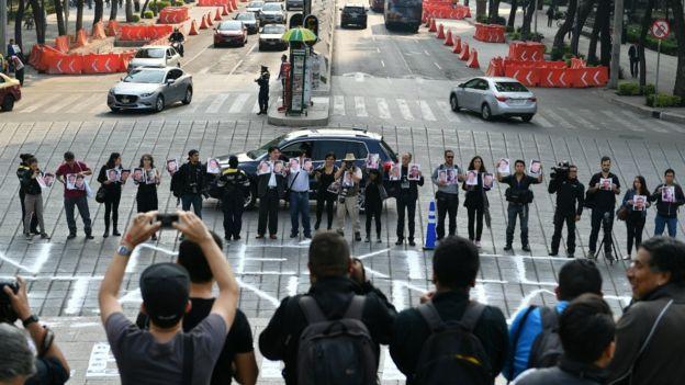 Protesta contra el asesinato de periodistas en México.