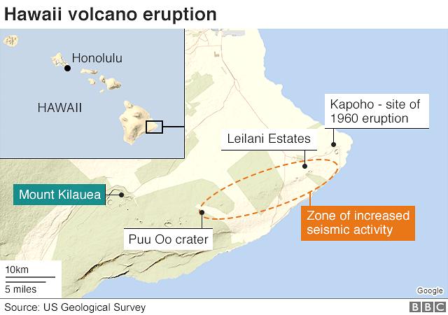 Hawaii volcano eruption map