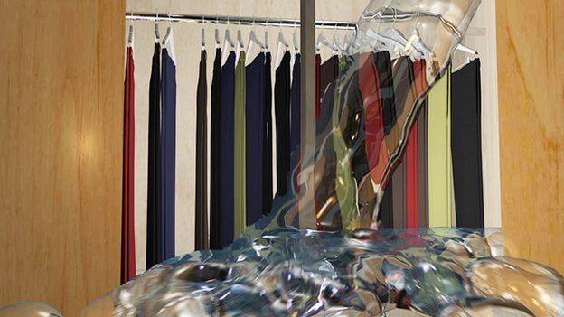 El armario en el que la ropa se lavaba