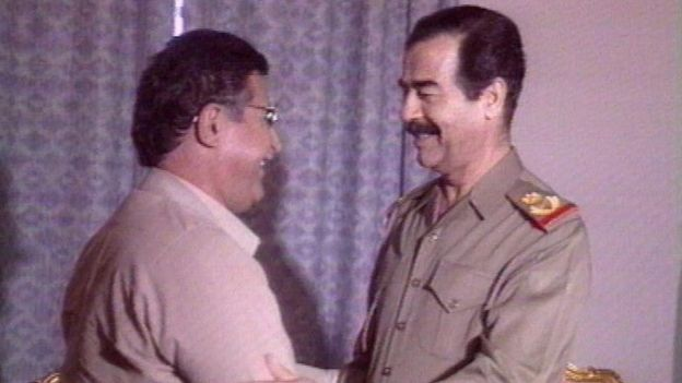 Talabani meeting the Iraqi dictator Saddam Hussein
