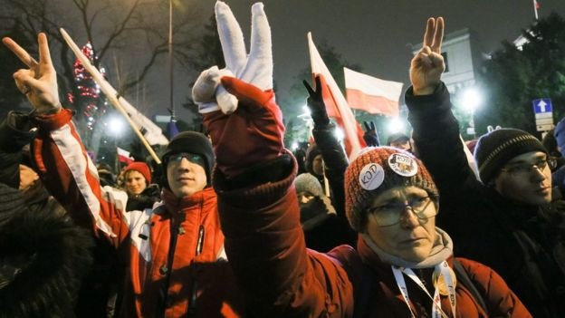 Protest outside parliament building in Warsaw, Poland, December 17, 2016.
