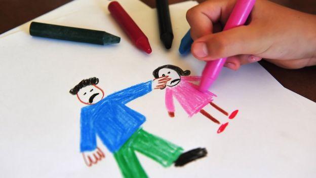 Dibujo de adulto maltratando a niña