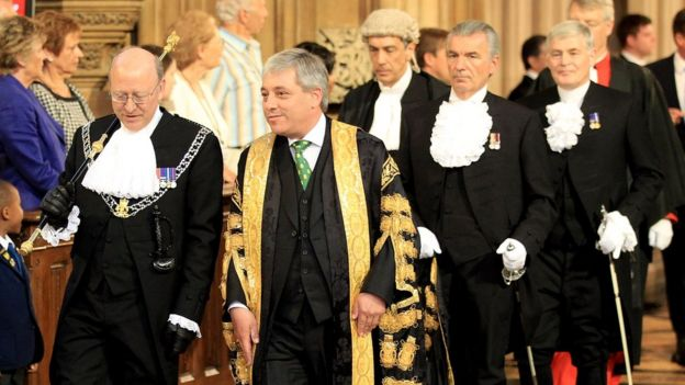 John Bercow at the 2010 state opening of Parliament, accompanied by Angus Sinclair