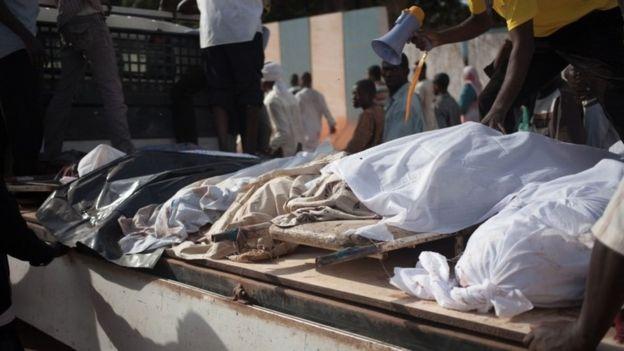 Dead bodies displayed